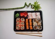 Sushi set in plastic box Stock Photos