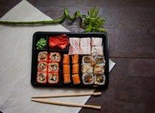Sushi set in plastic box Stock Photography