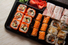 Sushi set in plastic box Royalty Free Stock Photo