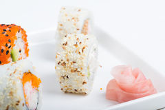Sushi set on the plate Stock Image