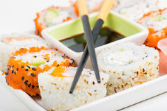 Sushi set in the plate Royalty Free Stock Images