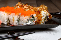 Sushi set on plate with wasabi and marinated ginger Stock Image