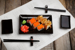Sushi set on plate with wasabi and marinated ginger Royalty Free Stock Images