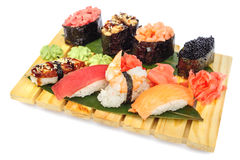 Sushi set of rolls on bamboo board Stock Photography