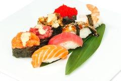Sushi set of rolls isolated on white Royalty Free Stock Images
