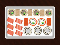 Sushi. Set of sushi and rolls on a plate Royalty Free Stock Photo