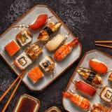 Sushi Set: sushi and sushi rolls on plate. Sushi Set: sushi and sushi rolls on plate, top view Royalty Free Stock Photos