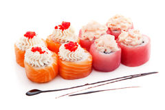 Sushi set with salmon, tuna, caviar and cream isolated on white background Stock Photos