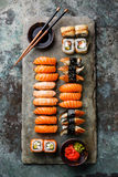 Sushi Set sashimi and sushi rolls Stock Image