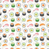Sushi set seamless pattern. Rolls endless background. Japanese cuisine repetitive texture. Backdrop, wallpaper. Vector. Illustration Stock Photo
