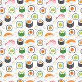 Sushi set seamless pattern. Rolls endless background. Japanese cuisine repetitive texture. Backdrop, wallpaper. Vector. Illustration vector illustration