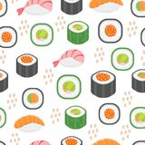 Sushi set seamless pattern. Rolls endless background. Japanese cuisine repetitive texture. Backdrop, wallpaper. Vector. Illustration Royalty Free Stock Photography