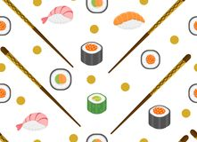 Sushi set seamless pattern. Rolls endless background. Japanese cuisine repetitive texture. Backdrop, wallpaper. Vector. Illustration Stock Image