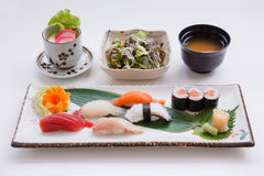 Sushi Set Served with Japanese Steamed Egg, Salad, Miso Soup. and Mixed Sushi Stock Image