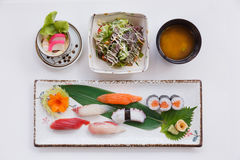 Sushi Set Served with Japanese Steamed Egg, Salad, Miso Soup. and Mixed Sushi Royalty Free Stock Image
