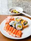 Sushi set served in a white plate Royalty Free Stock Photography