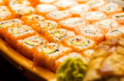Sushi set (shallow DOF). Sushi set (California and Philadelphia) (shallow DOF stock photo