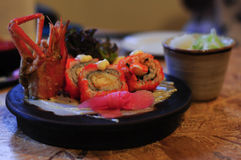 Sushi set with shrimp and ginger royalty free stock photos