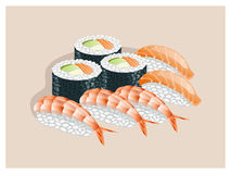 Sushi set with shrimp, salmon and avocado. Sushi set on a beige background royalty free illustration