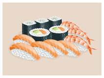 Sushi set with shrimp, salmon, avocado. Sushi set on a beige background vector illustration