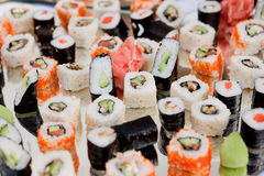 Sushi set on silver tray Royalty Free Stock Photo