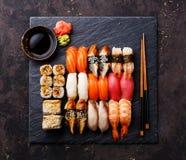 Sushi Set on slate plate Royalty Free Stock Image
