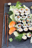 Sushi set on a slate stone Stock Image