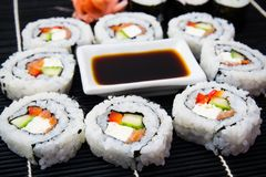 Sushi set with soy sauce Royalty Free Stock Images