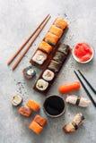 Sushi Set, Soy Sauce, Ginger And Chopstiks Stock Photography