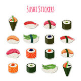 Sushi set stickers, labels, logos. Asian food. Vector illustration Royalty Free Stock Image