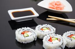 Sushi set with sticks and ginger Royalty Free Stock Image
