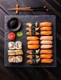 Sushi Set on stone slate Royalty Free Stock Photo
