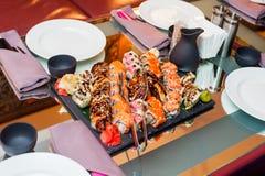 Sushi set on stone tray Royalty Free Stock Image