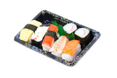 Sushi Set In Stylish Tray. Royalty Free Stock Photo