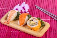 Sushi set ,sushi with chopsticks Stock Images