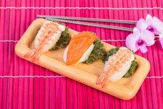 Sushi set ,sushi with chopsticks Royalty Free Stock Image