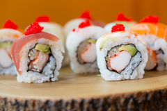 Sushi set, sushi roll with salmon and sushi roll with avocado. Stock Image