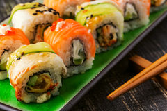Sushi set: sushi roll with salmon and sushi roll with smoked eel Stock Image