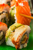 Sushi set: sushi roll with salmon and sushi roll with smoked eel Royalty Free Stock Photography