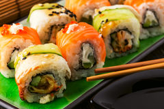 Sushi set: sushi roll with salmon and sushi roll with smoked eel Stock Photo