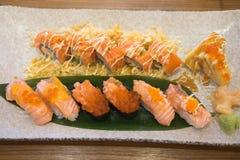 Sushi Set: sushi and sushi rolls. On plate selective focus Royalty Free Stock Image