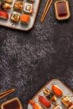 Sushi Set: sushi and sushi rolls on plate. Sushi Set: sushi and sushi rolls on plate, top view Royalty Free Stock Images