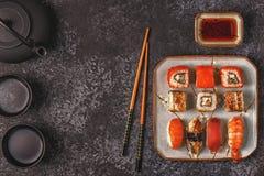 Sushi Set: sushi and sushi rolls on plate. Sushi Set: sushi and sushi rolls on plate, top view Royalty Free Stock Image