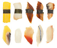 Sushi Set of Ten. An overhead shot of 10 different types of sushi/sashimi Royalty Free Stock Photography