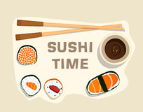 Free Sushi Set, Time,flat Food And Japanese Seafood Rolls With Sakura Royalty Free Stock Images - 82225549