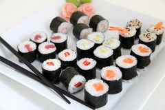 Sushi set. Traditional japanese food Royalty Free Stock Images
