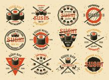 Sushi set of vector emblems. Sushi set of twelve vector emblems, labels, badges, stamps or logos in vintage style isolated on background with textures vector illustration