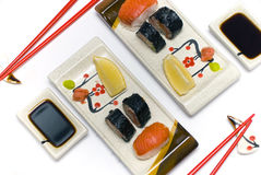 A sushi set for two persons stock photos