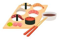 Sushi set vector.Shrimp sushi, Octopus, Salmon fish sushi, Tuna sushi, Acne, Sushi roll caviar Royalty Free Stock Photography