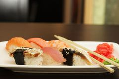 Sushi set on white plate Stock Photo